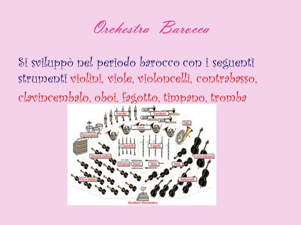 Orchestra Barocca Si sviluppò nel periodo barocco con i seguenti strumenti violini, viole, violoncelli, contrabasso, clavincembalo, oboi, fagotto, tim