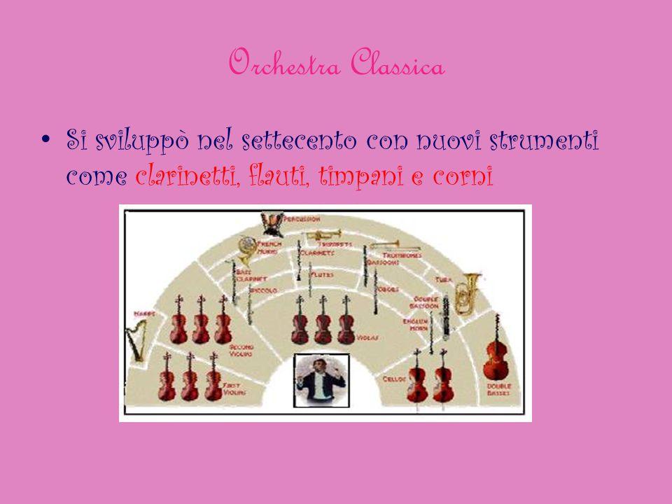 Orchestra Classica Si sviluppò nel settecento con nuovi strumenti come clarinetti, flauti, timpani e corni