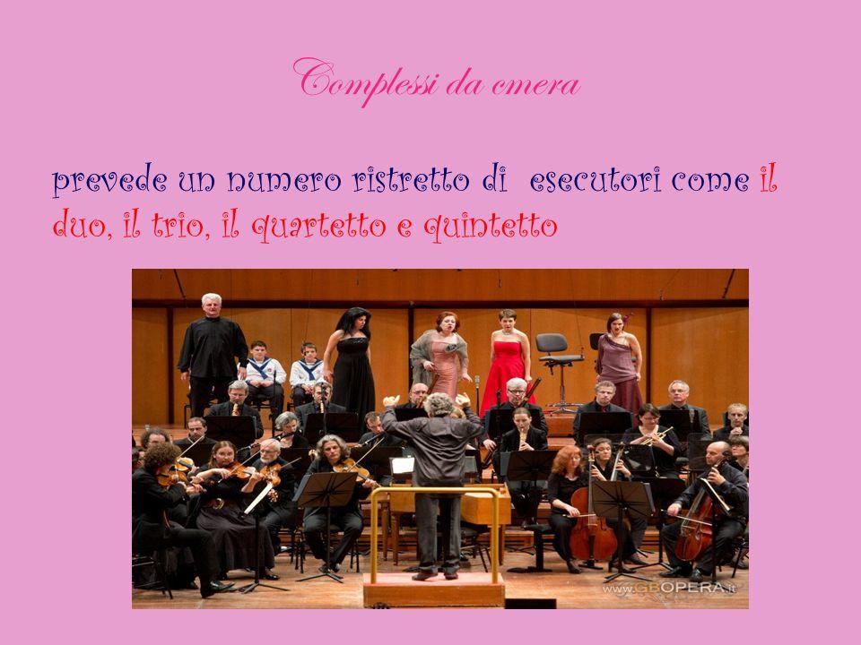 Complessi da cmera prevede un numero ristretto di esecutori come il duo, il trio, il quartetto e quintetto