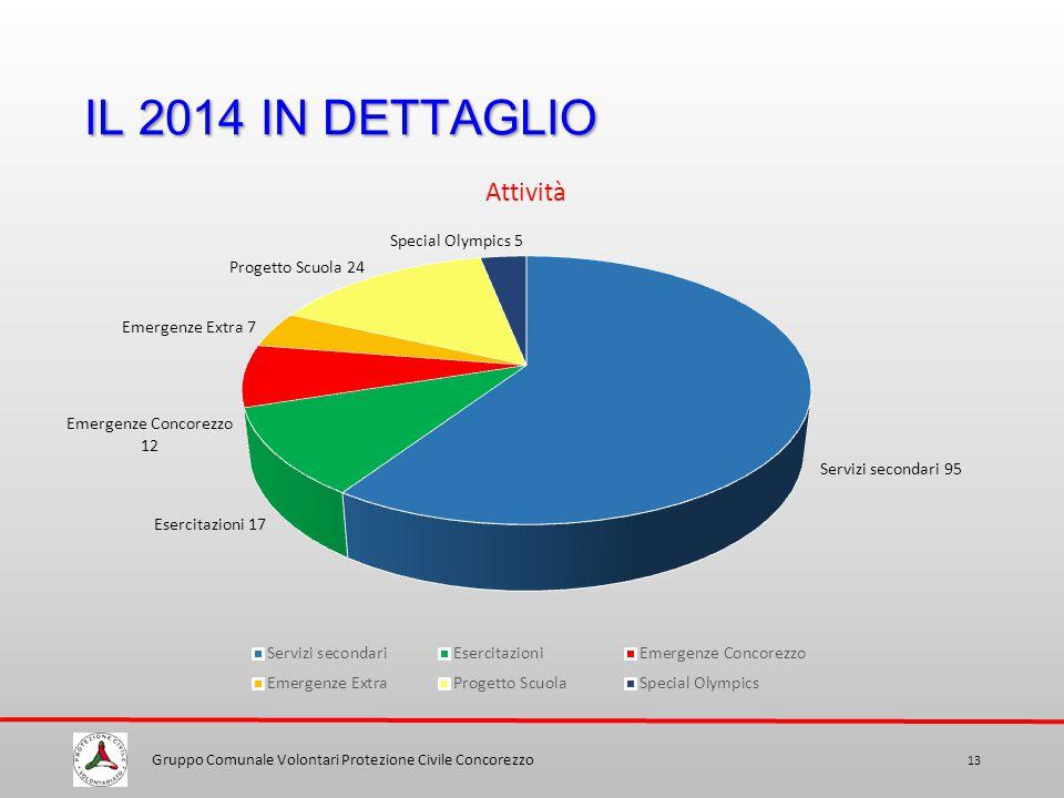 IL 2014 IN DETTAGLIO Gruppo Comunale Volontari Protezione Civile Concorezzo 13