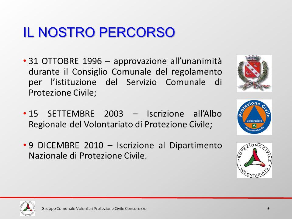 IL NOSTRO PERCORSO Gruppo Comunale Volontari Protezione Civile Concorezzo 6 31 OTTOBRE 1996 – approvazione all'unanimità durante il Consiglio Comunale