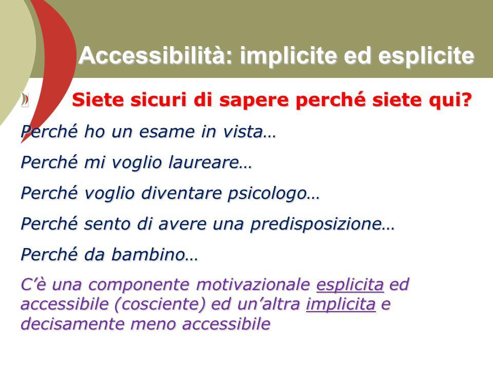 Accessibilità: implicite ed esplicite Siete sicuri di sapere perché siete qui? Siete sicuri di sapere perché siete qui? Perché ho un esame in vista… P