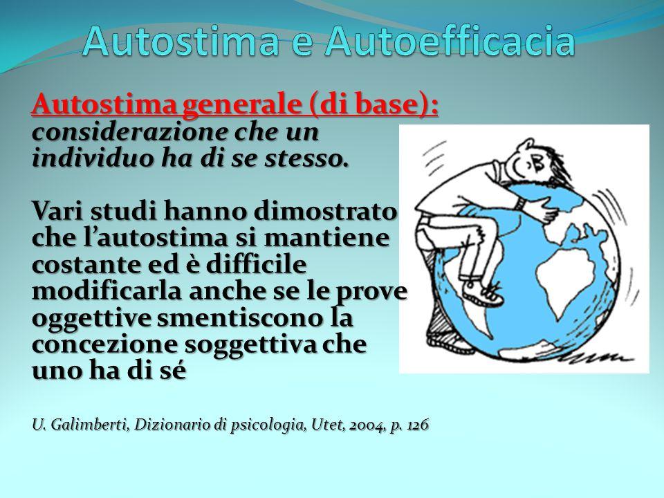 Autostima generale (di base): considerazione che un individuo ha di se stesso. Vari studi hanno dimostrato che l'autostima si mantiene costante ed è d