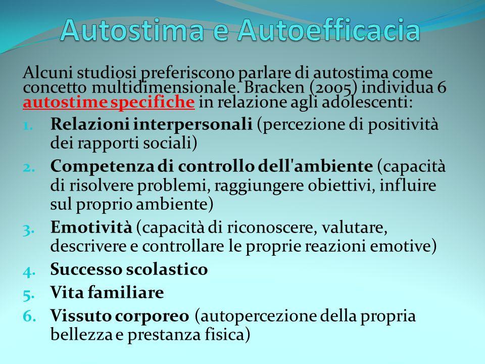 Alcuni studiosi preferiscono parlare di autostima come concetto multidimensionale. Bracken (2005) individua 6 autostime specifiche in relazione agli a