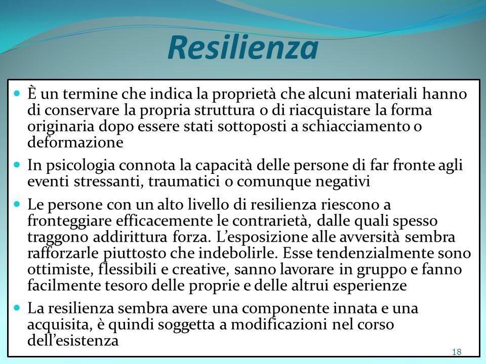 Resilienza È un termine che indica la proprietà che alcuni materiali hanno di conservare la propria struttura o di riacquistare la forma originaria do