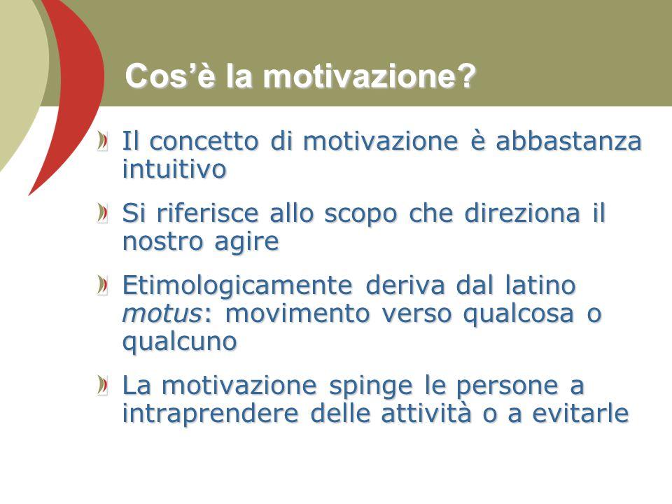 Cos'è la motivazione? Il concetto di motivazione è abbastanza intuitivo Si riferisce allo scopo che direziona il nostro agire Etimologicamente deriva