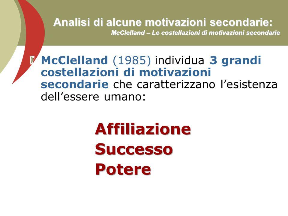 Analisi di alcune motivazioni secondarie: McClelland – Le costellazioni di motivazioni secondarie McClelland (1985) individua 3 grandi costellazioni d