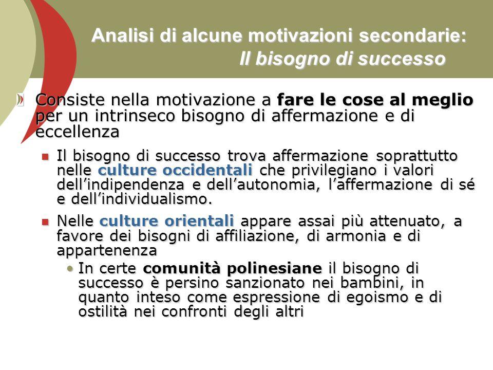 Analisi di alcune motivazioni secondarie: Il bisogno di successo Consiste nella motivazione a fare le cose al meglio per un intrinseco bisogno di affe