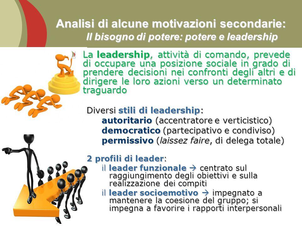 Analisi di alcune motivazioni secondarie: Il bisogno di potere: potere e leadership La leadership, attività di comando, prevede di occupare una posizi