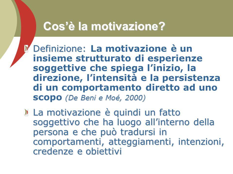 Cos'è la motivazione? Definizione: (De Beni e Moé, 2000) Definizione: La motivazione è un insieme strutturato di esperienze soggettive che spiega l'in