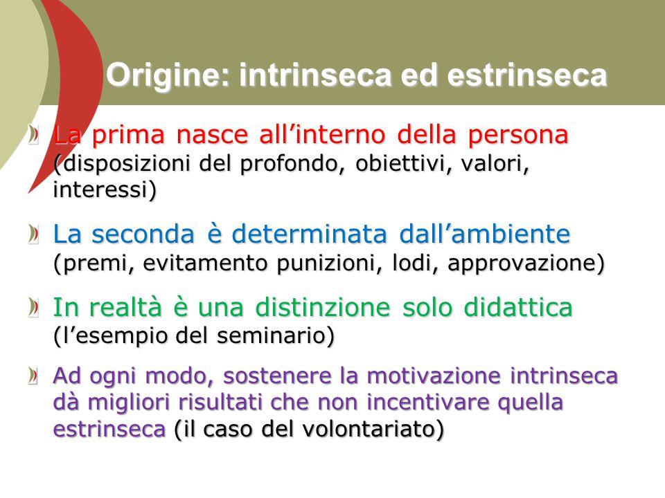 Origine: intrinseca ed estrinseca La prima nasce all'interno della persona (disposizioni del profondo, obiettivi, valori, interessi) La seconda è dete