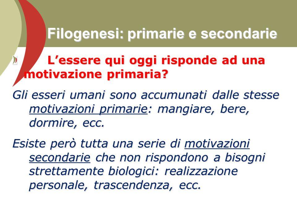 Filogenesi: primarie e secondarie L'essere qui oggi risponde ad una motivazione primaria? L'essere qui oggi risponde ad una motivazione primaria? Gli