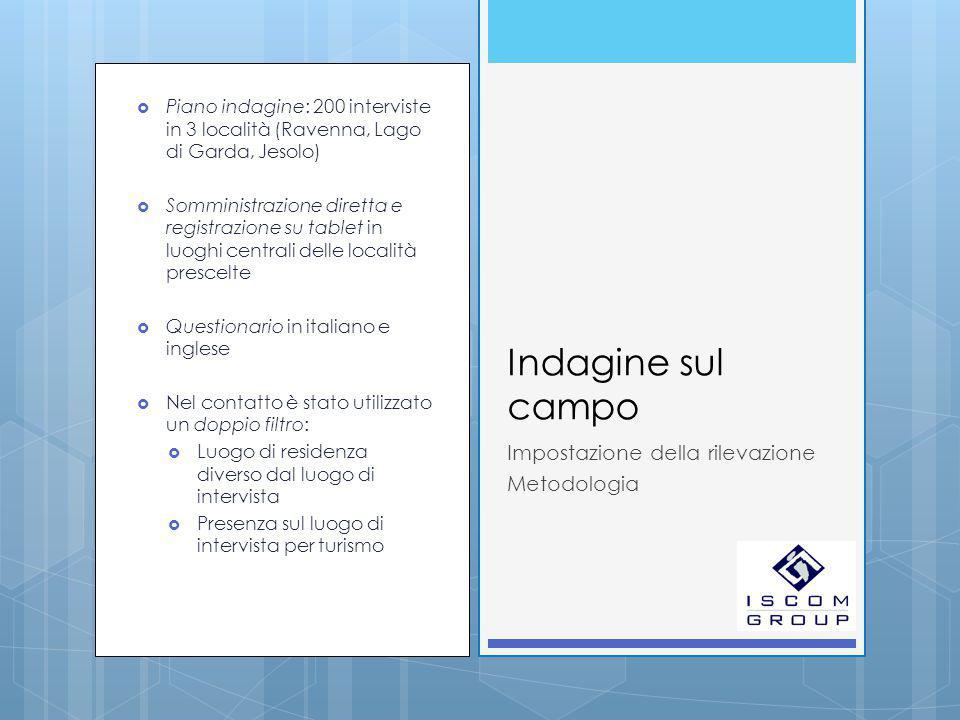  Piano indagine: 200 interviste in 3 località (Ravenna, Lago di Garda, Jesolo)  Somministrazione diretta e registrazione su tablet in luoghi central