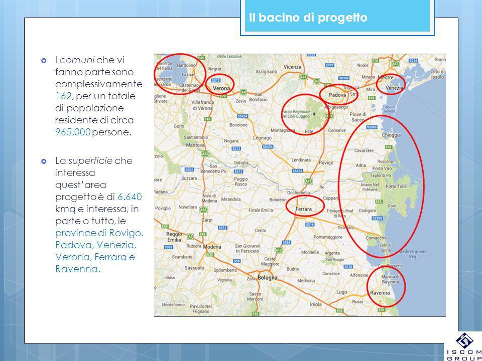 Il bacino di progetto  I comuni che vi fanno parte sono complessivamente 162, per un totale di popolazione residente di circa 965.000 persone.