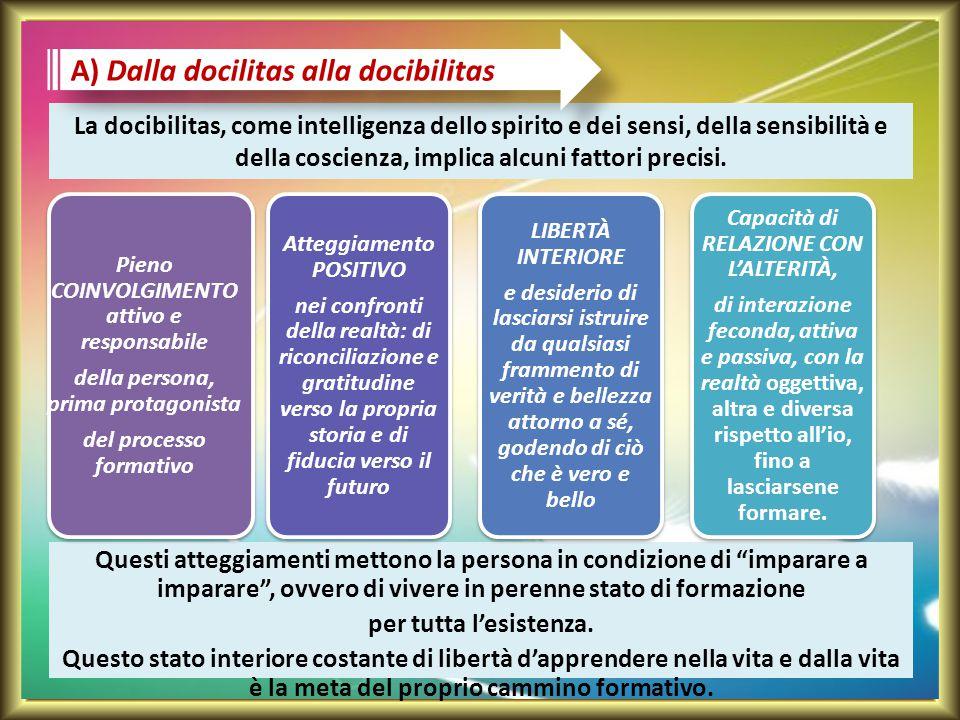 La docibilitas, come intelligenza dello spirito e dei sensi, della sensibilità e della coscienza, implica alcuni fattori precisi. Questi atteggiamenti