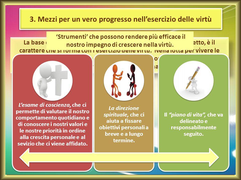 3. Mezzi per un vero progresso nell'esercizio delle virtù La base dell'autorevolezza nel servizio di autorità, abbiamo detto, è il carattere che si fo