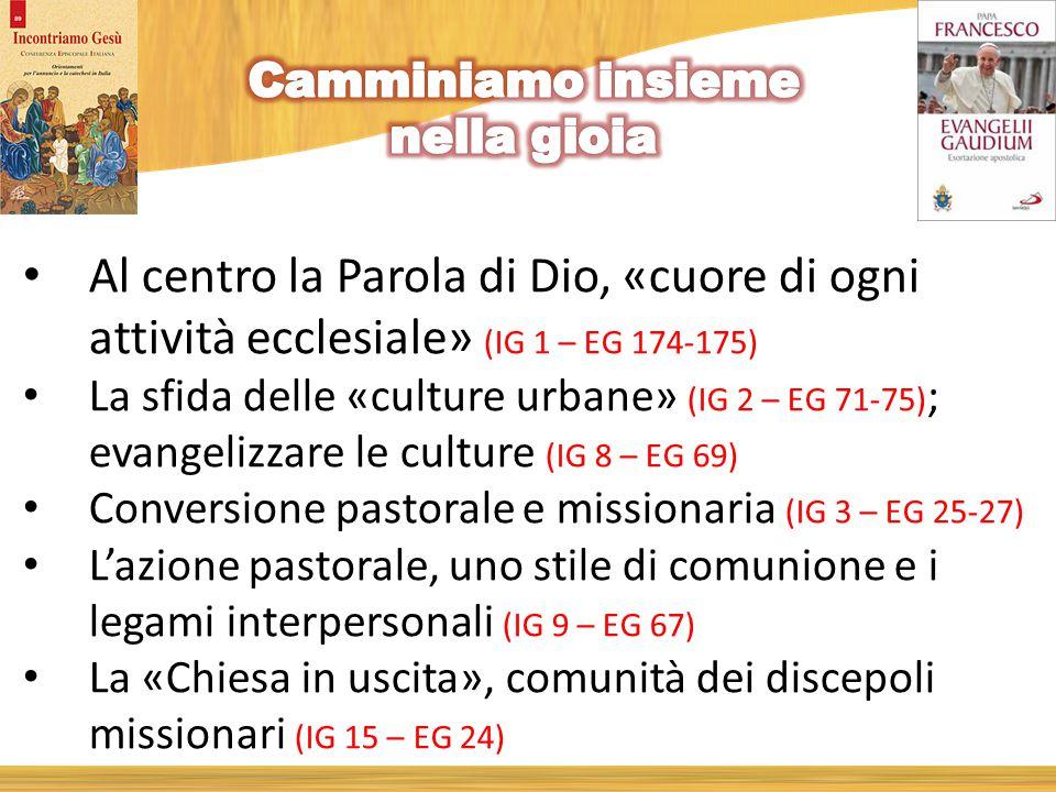 Al centro la Parola di Dio, «cuore di ogni attività ecclesiale» (IG 1 – EG 174-175) La sfida delle «culture urbane» (IG 2 – EG 71-75) ; evangelizzare le culture (IG 8 – EG 69) Conversione pastorale e missionaria (IG 3 – EG 25-27) L'azione pastorale, uno stile di comunione e i legami interpersonali (IG 9 – EG 67) La «Chiesa in uscita», comunità dei discepoli missionari (IG 15 – EG 24)