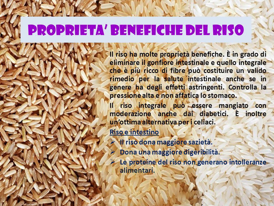 PROPRIETA' BENEFICHE DEL RISO Il riso ha molte proprietà benefiche. È in grado di eliminare il gonfiore intestinale e quello integrale che è più ricco