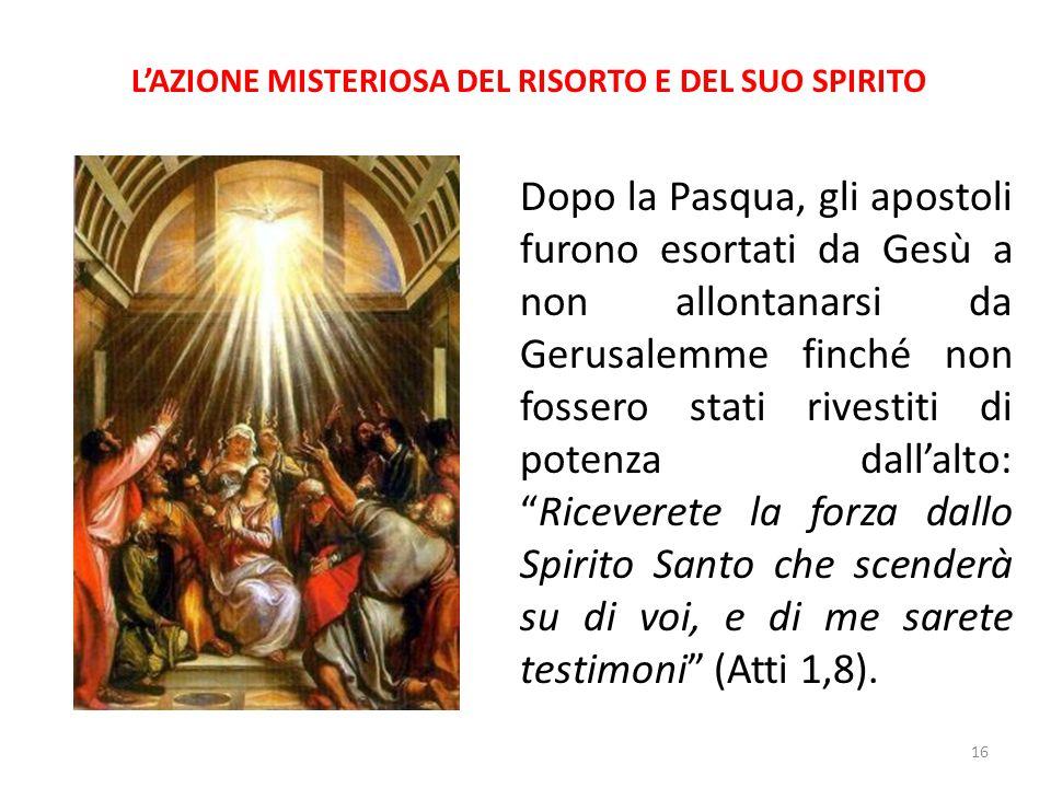 L'AZIONE MISTERIOSA DEL RISORTO E DEL SUO SPIRITO Dopo la Pasqua, gli apostoli furono esortati da Gesù a non allontanarsi da Gerusalemme finché non fo