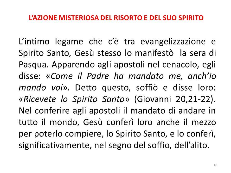 L'AZIONE MISTERIOSA DEL RISORTO E DEL SUO SPIRITO L'intimo legame che c'è tra evangelizzazione e Spirito Santo, Gesù stesso lo manifestò la sera di Pa