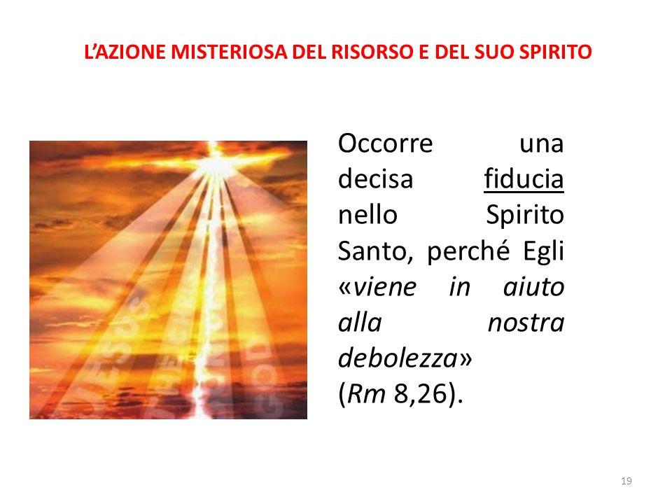 L'AZIONE MISTERIOSA DEL RISORSO E DEL SUO SPIRITO Occorre una decisa fiducia nello Spirito Santo, perché Egli «viene in aiuto alla nostra debolezza» (