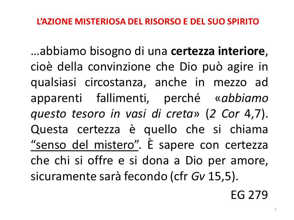 L'AZIONE MISTERIOSA DEL RISORTO E DEL SUO SPIRITO A Pentecoste tutti comprendono gli apostoli, perché essi proclamano le grandi opere di Dio (cfr.