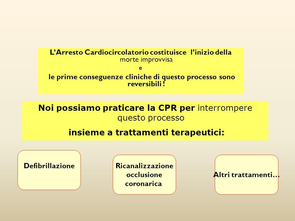 L'Arresto Cardiocircolatorio costituisce l'inizio della morte improvvisa e le prime conseguenze cliniche di questo processo sono reversibili ! Defibri