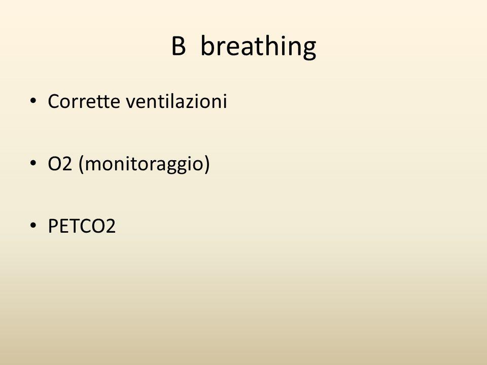 B breathing Corrette ventilazioni O2 (monitoraggio) PETCO2