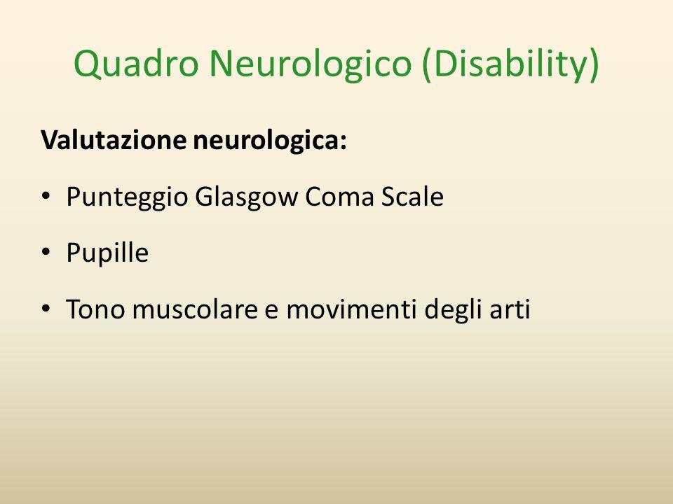 Quadro Neurologico (Disability) Valutazione neurologica: Punteggio Glasgow Coma Scale Pupille Tono muscolare e movimenti degli arti