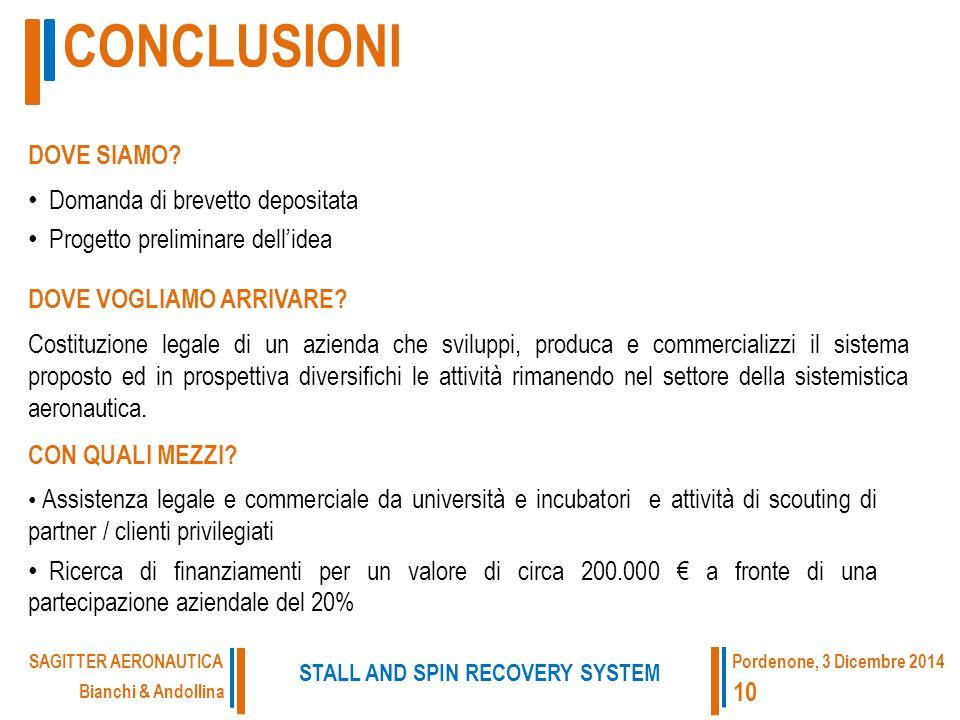 CONCLUSIONI Bianchi & Andollina STALL AND SPIN RECOVERY SYSTEM SAGITTER AERONAUTICA 10 Pordenone, 3 Dicembre 2014 Assistenza legale e commerciale da università e incubatori e attività di scouting di partner / clienti privilegiati Ricerca di finanziamenti per un valore di circa 200.000 € a fronte di una partecipazione aziendale del 20% CON QUALI MEZZI.