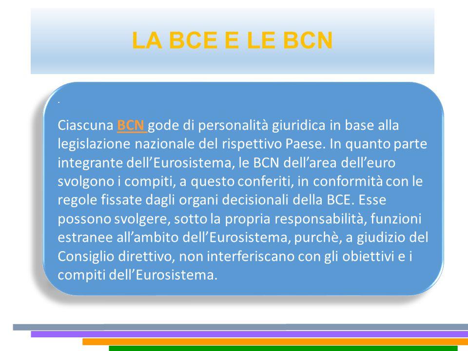 LA BCE E LE BCN. Ciascuna BCN gode di personalità giuridica in base alla legislazione nazionale del rispettivo Paese. In quanto parte integrante dell'