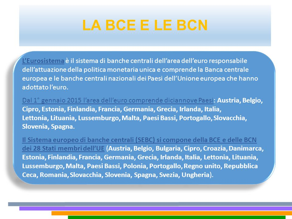 LA BCE E LE BCN L'Eurosistema è il sistema di banche centrali dell'area dell'euro responsabile dell'attuazione della politica monetaria unica e compre