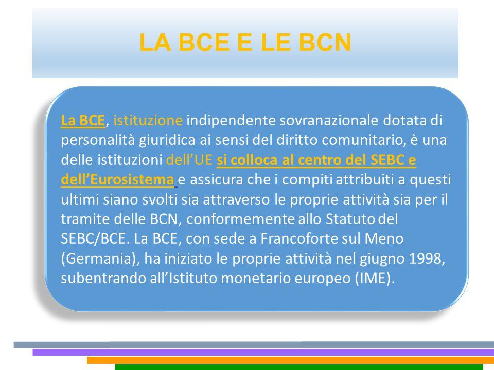 LA BCE E LE BCN La BCE, istituzione indipendente sovranazionale dotata di personalità giuridica ai sensi del diritto comunitario, è una delle istituzi