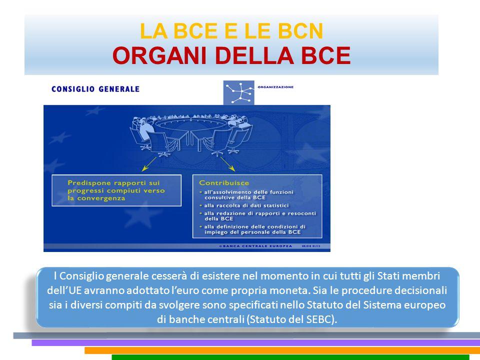 LA BCE E LE BCN ORGANI DELLA BCE.