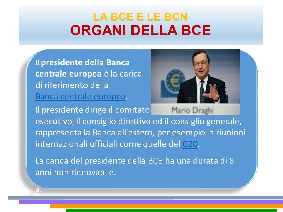 LA BCE E LE BCN ORGANI DELLA BCE. Il presidente della Banca centrale europea è la carica di riferimento della Banca centrale europeaBanca centrale eur