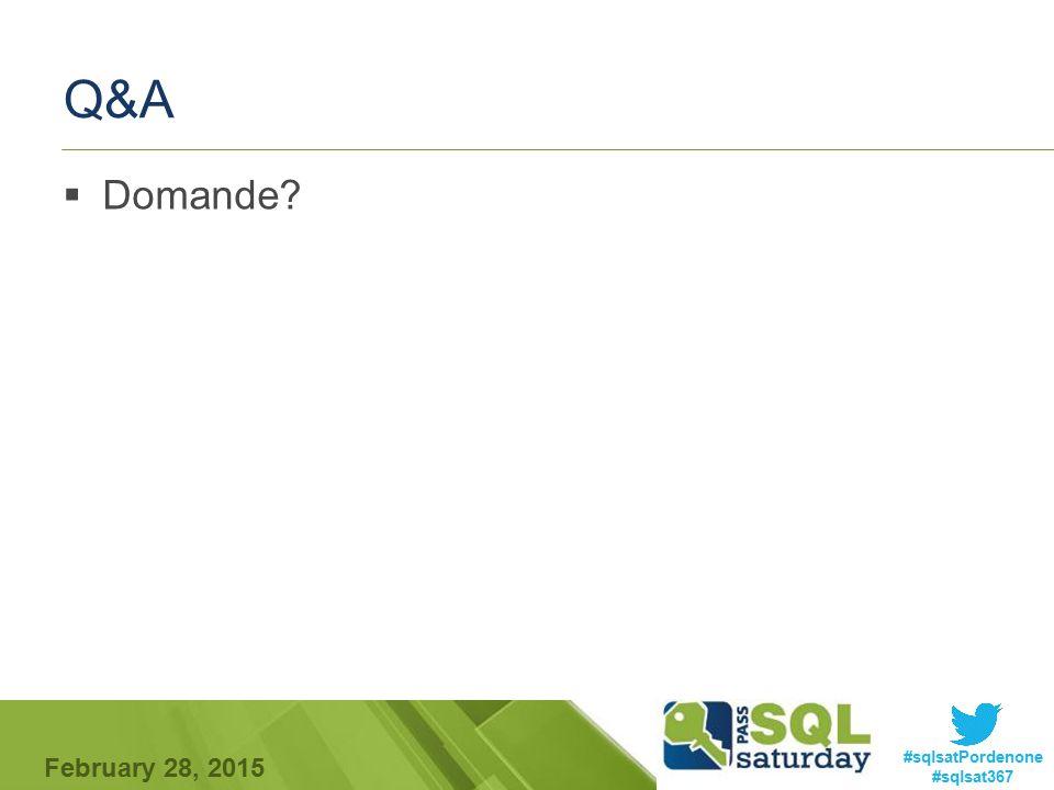 #sqlsatPordenone #sqlsat367 February 28, 2015 Q&A  Domande