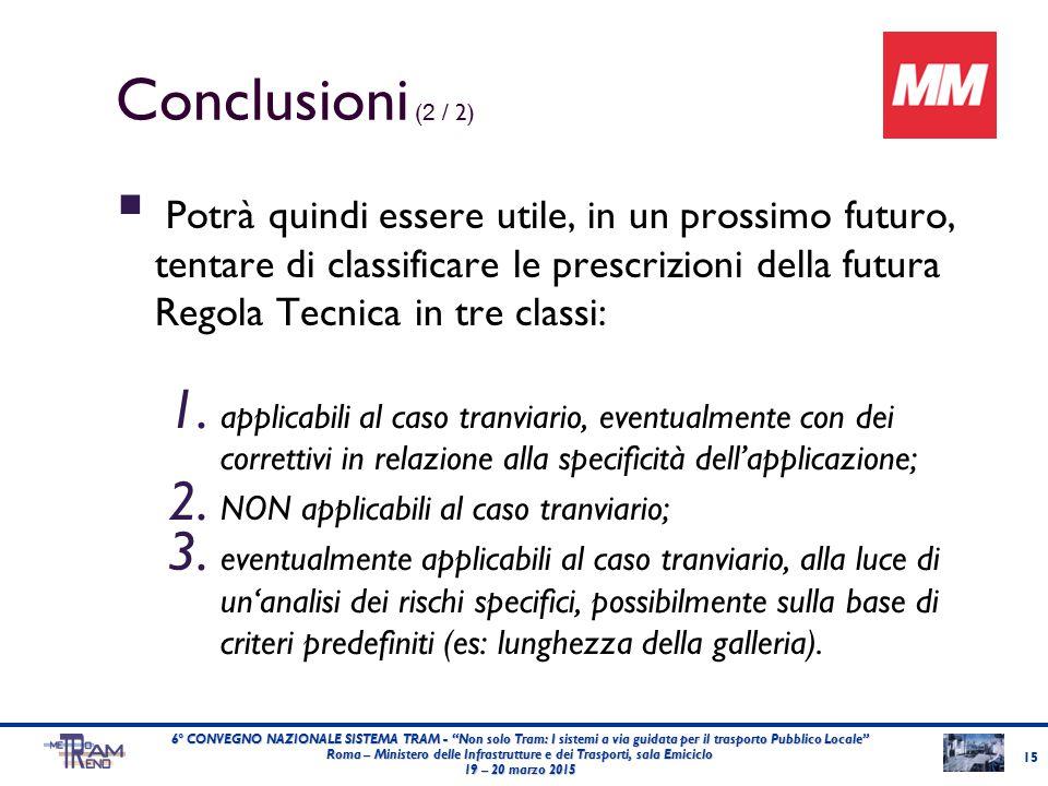 Conclusioni ( 2 / 2)  Potrà quindi essere utile, in un prossimo futuro, tentare di classificare le prescrizioni della futura Regola Tecnica in tre classi: 1.