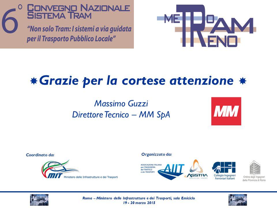 Roma – Ministero delle Infrastrutture e dei Trasporti, sala Emiciclo 19 - 20 marzo 2015 19 - 20 marzo 2015 Coordinato da: Organizzato da:  Grazie per la cortese attenzione 