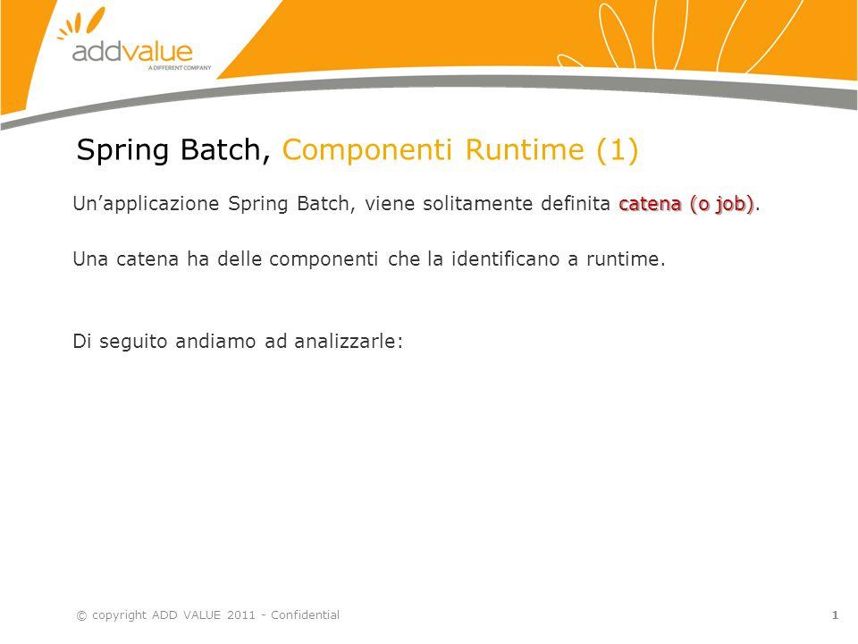 2 Spring Batch, Componenti Runtime (2) Catena (Job): è la componente principale che identifica un batch è l'applicazione in senso più generale Una Execution è l'esecuzione vera e propria della catena.