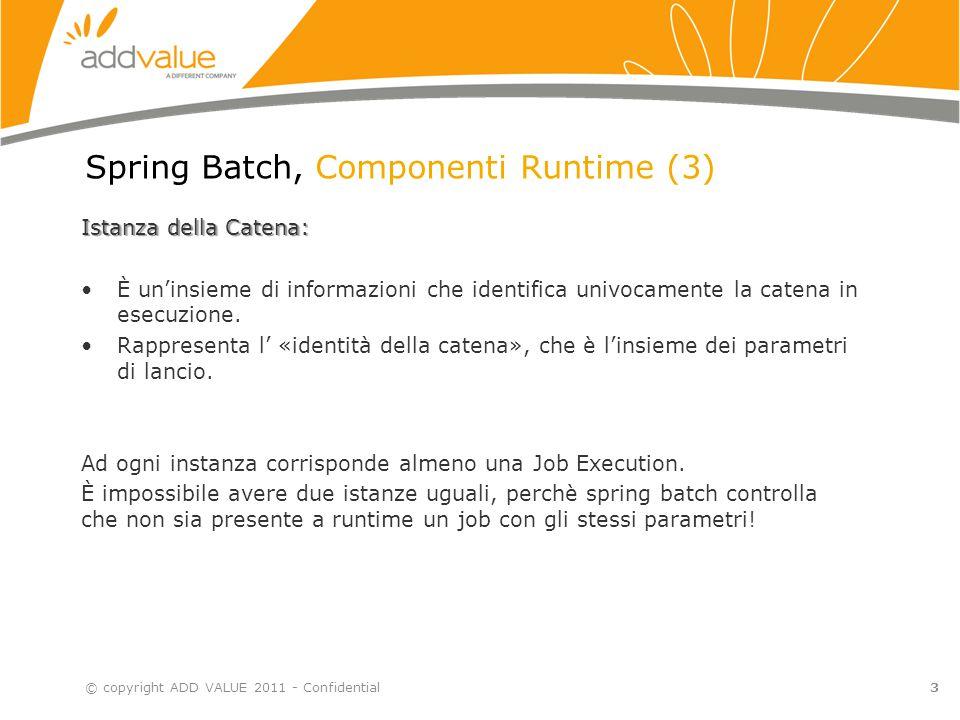 3 Spring Batch, Componenti Runtime (3) Istanza della Catena: È un'insieme di informazioni che identifica univocamente la catena in esecuzione.