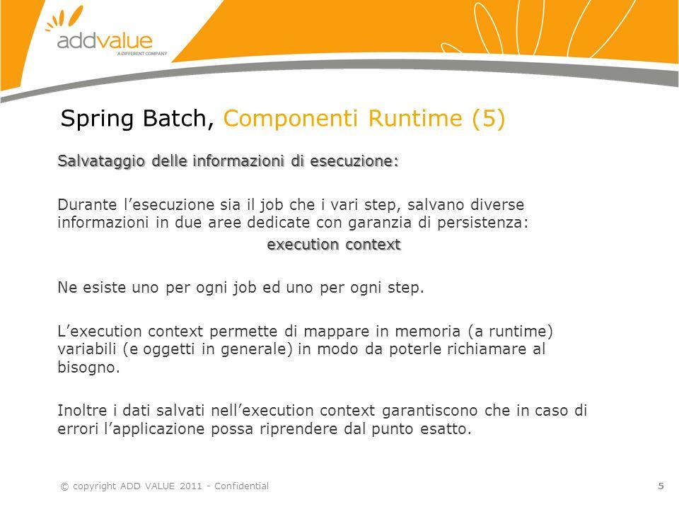 Spring Batch, Componenti Runtime (6) Spring Batch, se opportunamente istruito, scrive su database le informazioni di runtime.