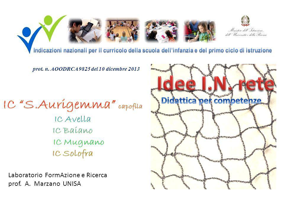 Laboratorio FormAzione e Ricerca prof. A. Marzano UNISA prot. n. AOODRCA 9825 del 10 dicembre 2013
