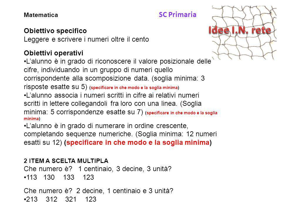 Matematica SC Primaria Obiettivo specifico Leggere e scrivere i numeri oltre il cento Obiettivi operativi L'alunno è in grado di riconoscere il valore