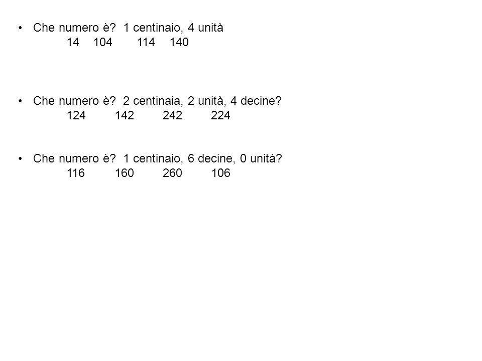 Che numero è? 1 centinaio, 4 unità 14 104 114 140 Che numero è? 2 centinaia, 2 unità, 4 decine? 124142242224 Che numero è? 1 centinaio, 6 decine, 0 un