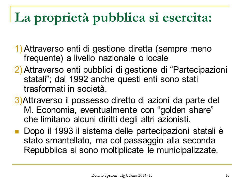 La proprietà pubblica si esercita: 1)Attraverso enti di gestione diretta (sempre meno frequente) a livello nazionale o locale 2)Attraverso enti pubbli
