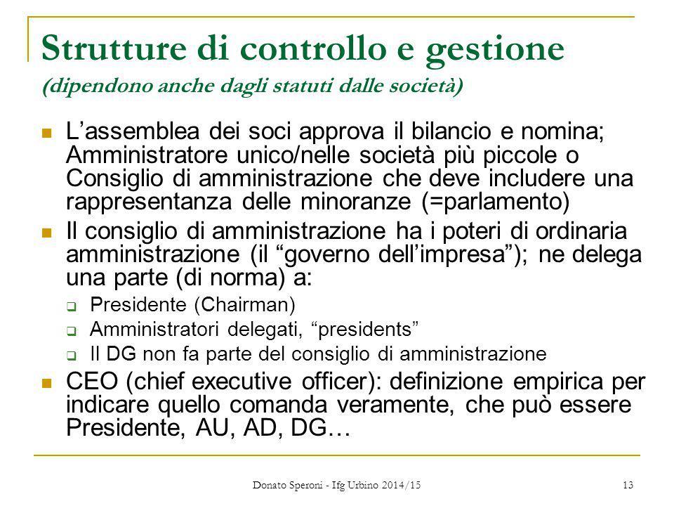 Donato Speroni - Ifg Urbino 2014/15 13 Strutture di controllo e gestione (dipendono anche dagli statuti dalle società) L'assemblea dei soci approva il