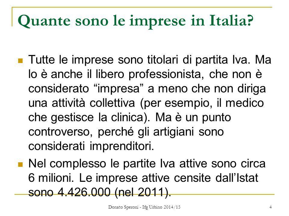 """Quante sono le imprese in Italia? Tutte le imprese sono titolari di partita Iva. Ma lo è anche il libero professionista, che non è considerato """"impres"""