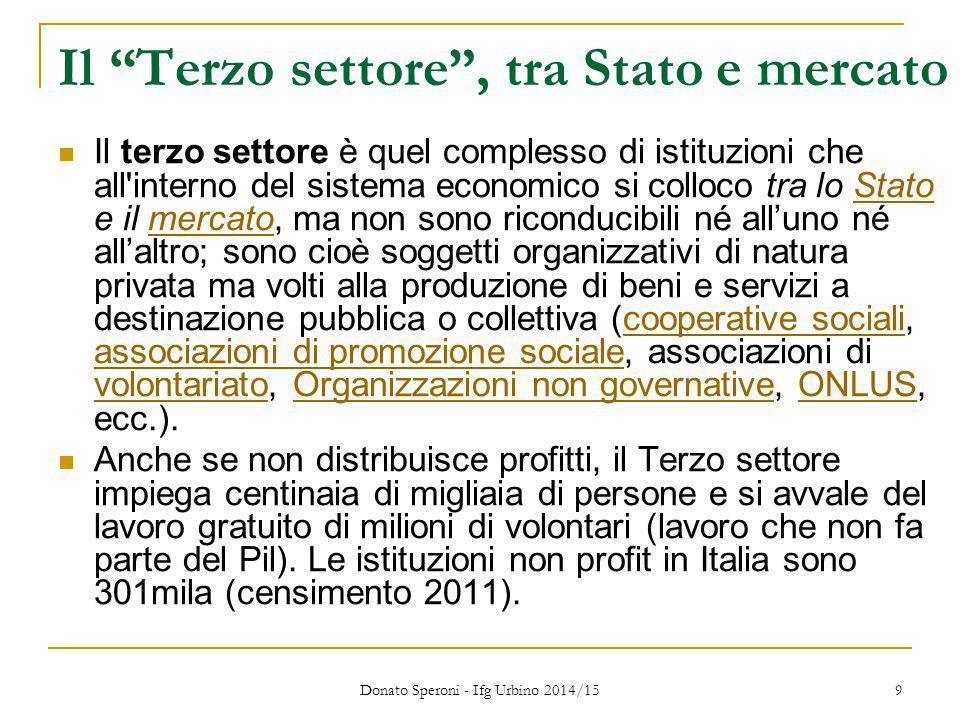 """Il """"Terzo settore"""", tra Stato e mercato Il terzo settore è quel complesso di istituzioni che all'interno del sistema economico si colloco tra lo Stato"""