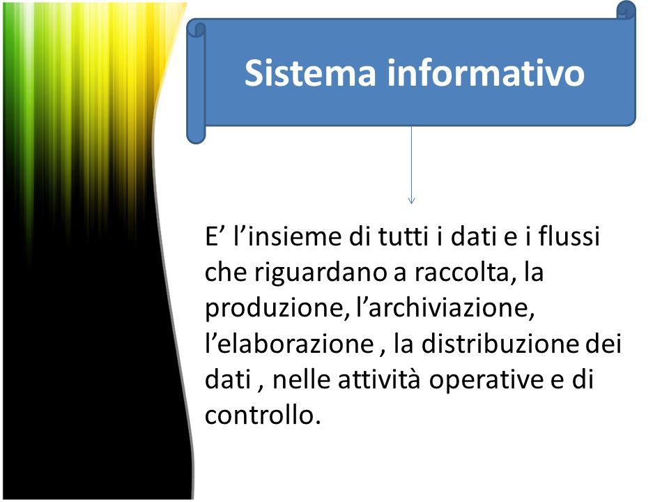 E' l'insieme di tutti i dati e i flussi che riguardano a raccolta, la produzione, l'archiviazione, l'elaborazione, la distribuzione dei dati, nelle attività operative e di controllo.