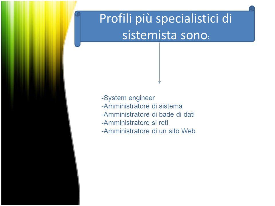 Profili più specialistici di sistemista sono : -System engineer -Amministratore di sistema -Amministratore di bade di dati -Amministratore si reti -Amministratore di un sito Web